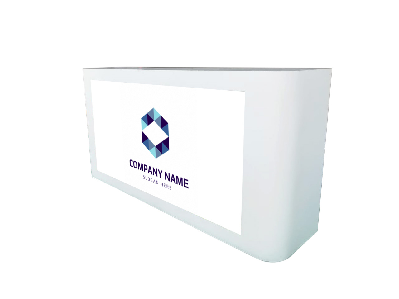 Information desk with logo, lightbox and lockable doors