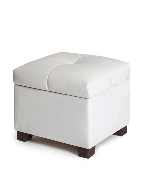 Pouffe white (faux leather)